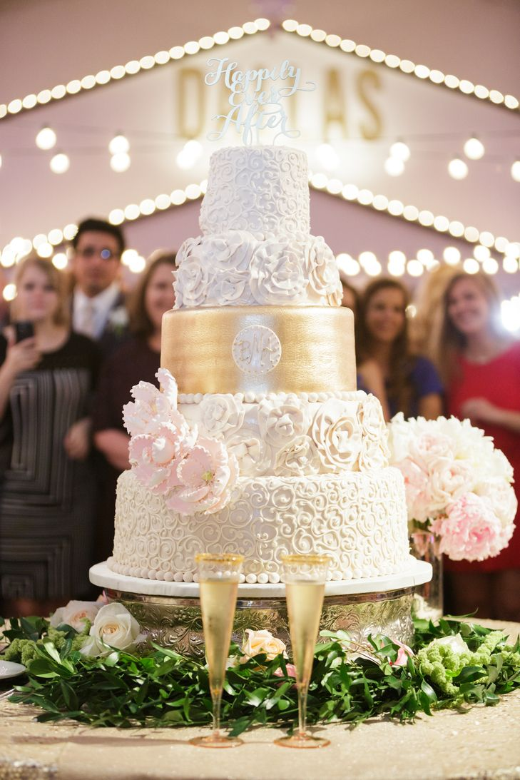 Ivory, Gold Wedding Cake with Blush Sugar Flowers ...