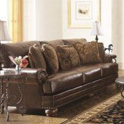 Ashley Furniture Chaling Leather Sofa in Antique - Walmart.com