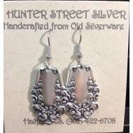 Earrings, Large: Handmade in Canada, eco-friendly earrings made from vintage silver plate silverware.