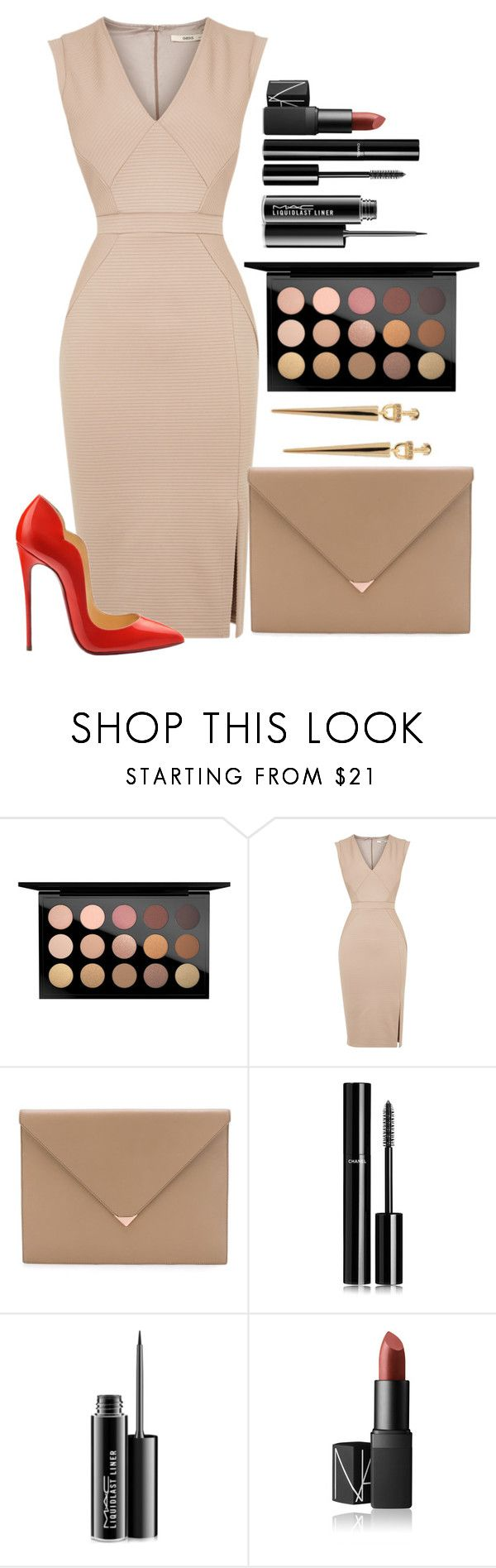 """""""Untitled #1451"""" by fabianarveloc on Polyvore featuring MAC Cosmetics, Oasis, Christian Louboutin, Alexander Wang, Chanel, NARS Cosmetics and Paige Novick"""