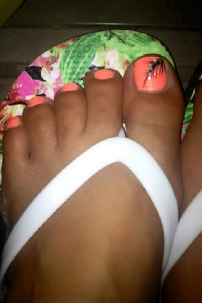 Summer toe Nails- China Glaze Flip flop fantasy nail color with black Feather accent nail