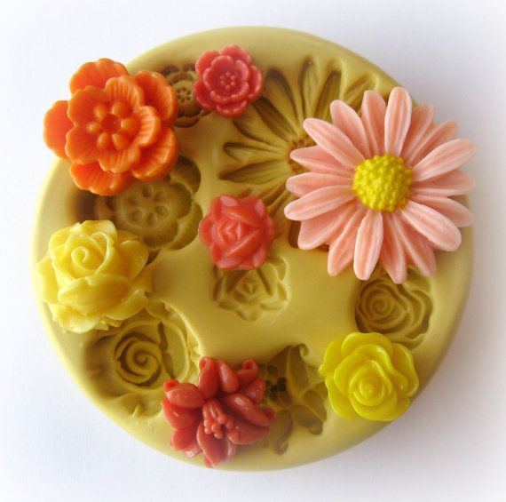 Molds Silicone Mold Cabochon Flower Mold Resin by WhysperFairy