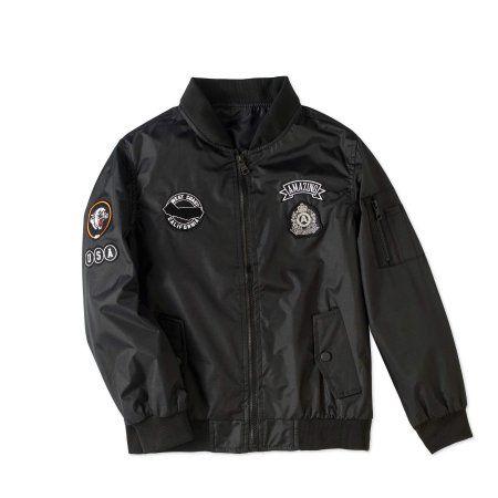 Bocini Boys' Bomber Jacket With Patches, Size: 10/12, Black