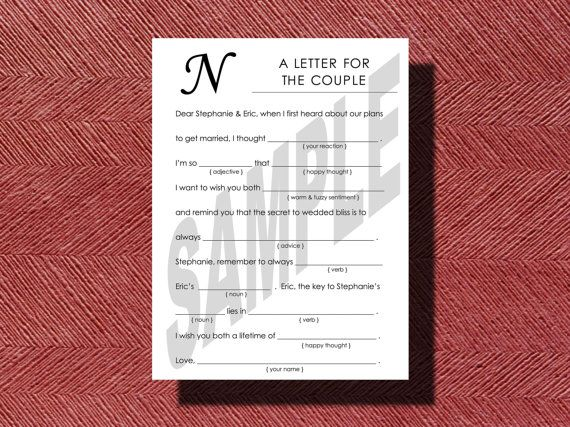 Simple #Wedding #MadLibs A fun Guest Book Alternative #DIY by WeddingsByJamie, $15.00