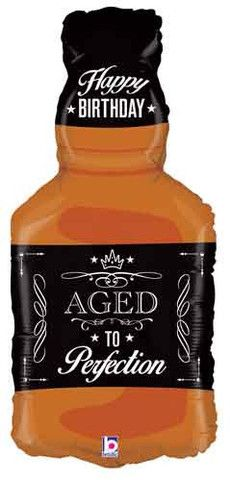 Aged To Perfection Whiskey Shape Balloon, Whiskey, Jack Daniels, Alcohol, Balloon Decor, Over the Hill Birthday Ideas, OC Party Supply