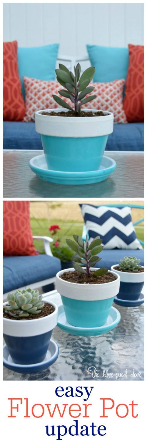 A quick, easy way to put some life back into your old flower pots! theblueeyeddove.com