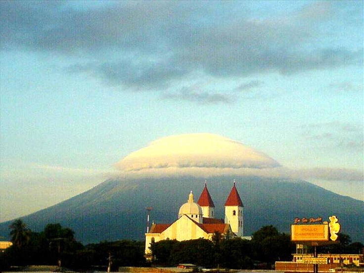 San Miguel Cathedral and Chaparrastique Volcano, El Salvador