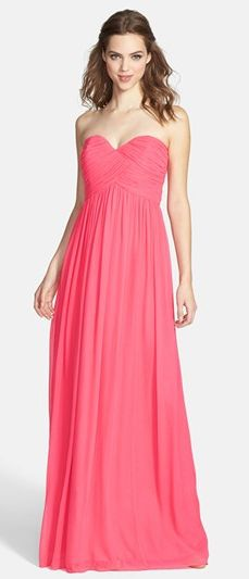'Laura' Ruched Sweetheart Silk Chiffon Gown from Nordstrom. #prom #classic #stunning