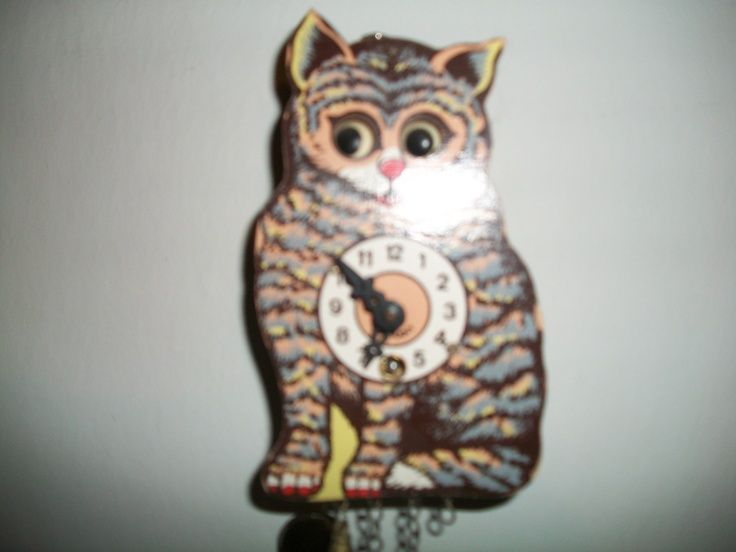 old German kitty clock, the eyes move with the pendulum: Eye Moving, Kitty Clocks
