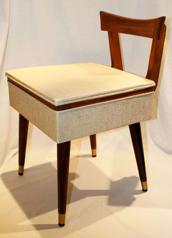 Vintage Sewing Chair with Storage | Mid century, Storage ...