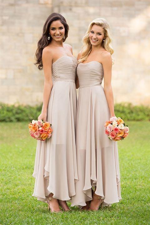 Strapless chiffon floor length boho bridesmaid dresses