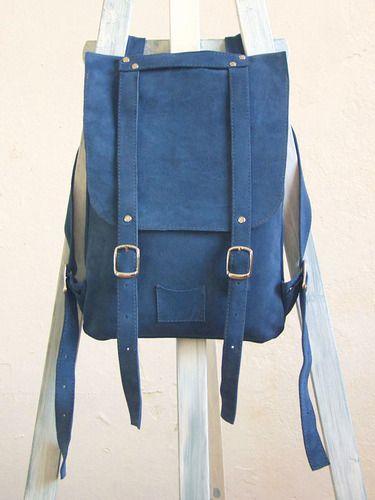 Ярко-синий рюкзак из замши. Colorful leather backpack rucksack Kokosina