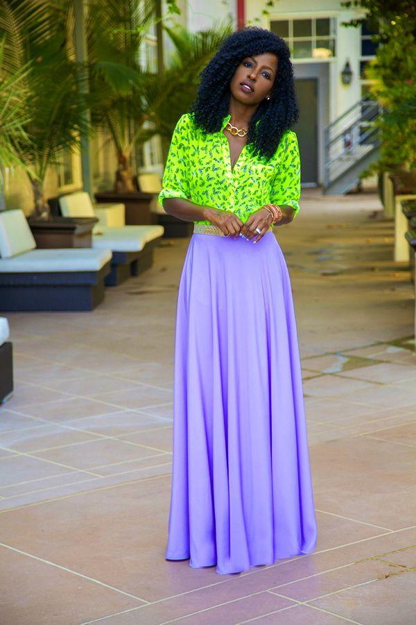neon shirt with purple maxi skirt #style #fashion