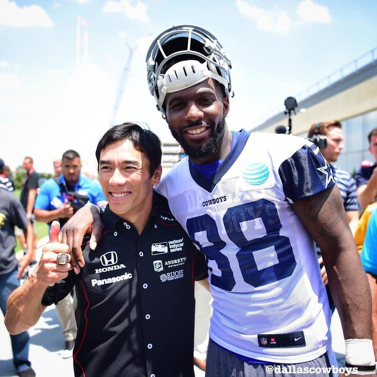 Indy 500 winner Takuma Sato and Dez hanging out after today's OTA.
