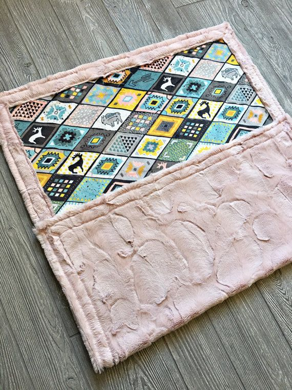 Beautiful southwestern all Minky blanket. Ships from pet free smoke free clean environment. 30x40 Baby Blanket Ships Today!!  I would suggest getting the 40x60 blanket if you would like to cover the entire crib. I would suggest the 56x76 adult blanket if you would like to cover a twin sized bed  Please visit my daughters shop for a matching pillow  www.etsy.com/shop/milliemoongirl Sizes are approximate and made to order. Usually takes about 2 weeks. Blanket is minky on both sides. G...