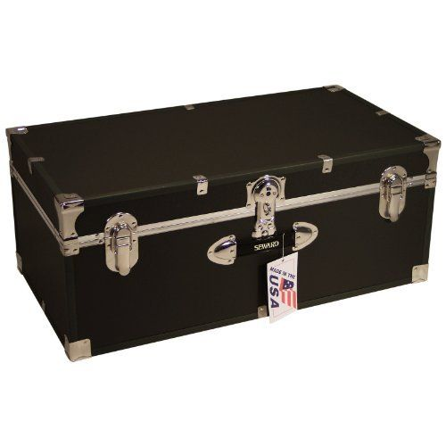 Locking Stackable Trunk-Navy by Mercury Luggage. $119.99. Stackable, 1 front plastic handle. Easy-open push-button key lock. Interior is unlined, no tray included. Navy exterior with color coordinated high impact styrene binding. .25-inch fiberboard covered in heavy gauge vinyl. Perfect for long term storage or frequent use, the Mercury Luggage Locking Stackable Trunk - Navy trunk stacks with others for convenience. Constructed from strong .25-inch fiberboard with a heavy gauge ...