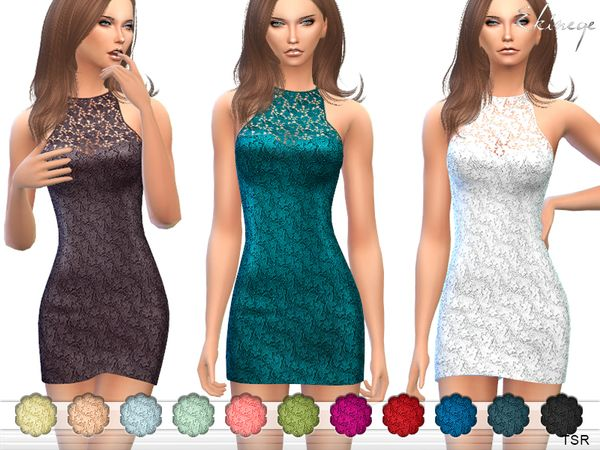 The Sims Resource: Lace Mini Dress by ekinege • Sims 4 Downloads