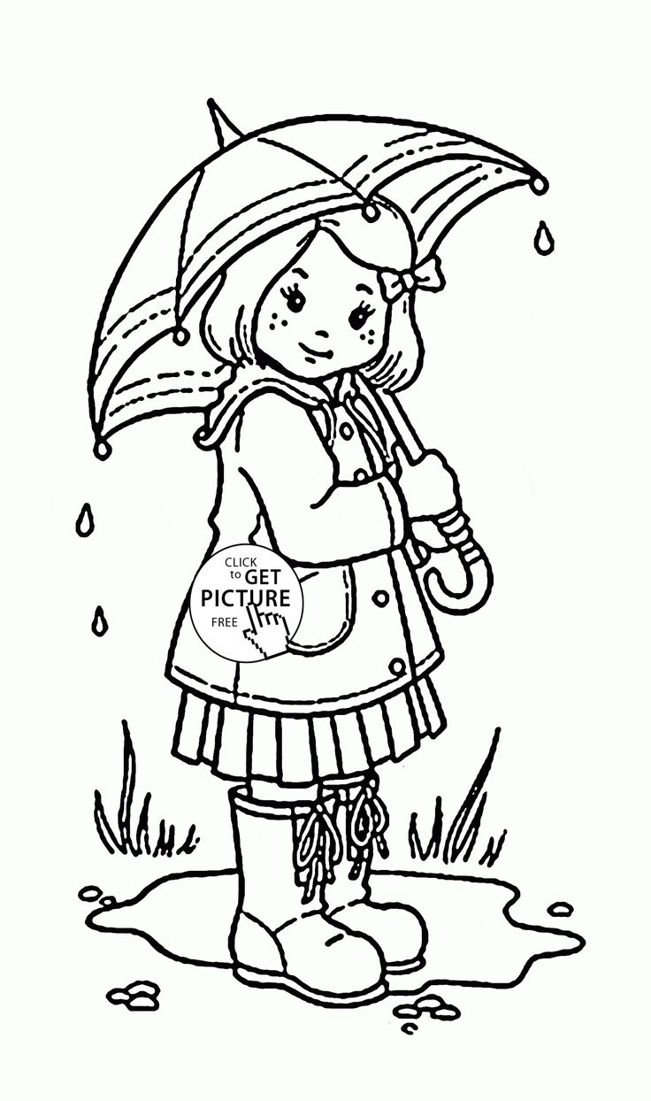 Girl and Umbrella coloring page for kids spring coloring