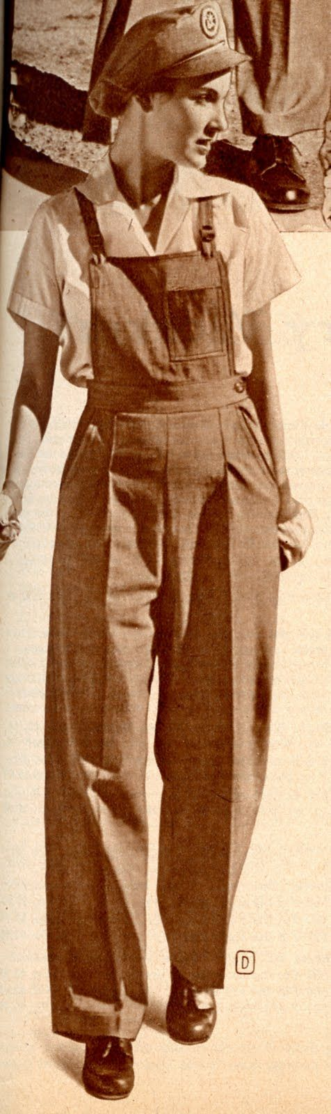 """""""...Wards offered a nice line of women's workwear featuring a """"Victory Volunteers"""" emblem.  These bib-top overalls were described as """"a sensible choice for your wartime job..."""""""