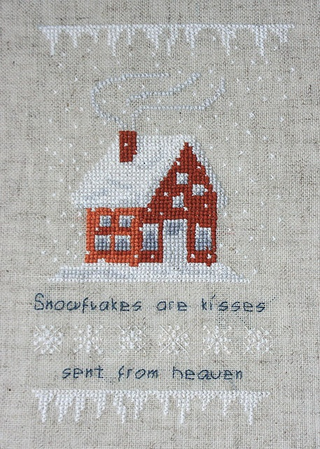 """X-stitch Snow- would like this with the """" if snowflakes were kisses I'd send you a blizzard"""" stitched."""