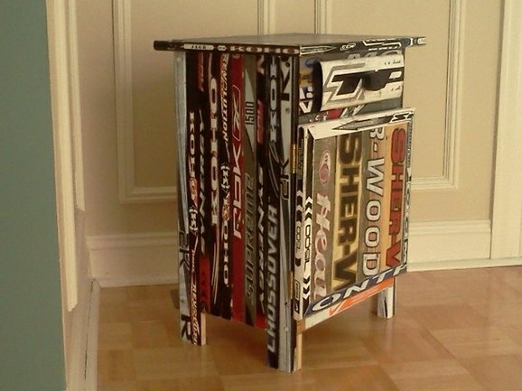 Hockey Stick Nightstand...love…made with old Hockey Sticks!