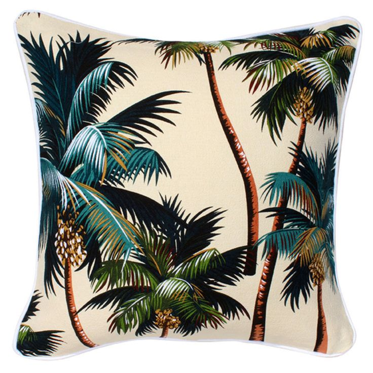 """Natural Palms Cushion . White piping . 45cm / 18"""" by TiareDesign on Etsy"""
