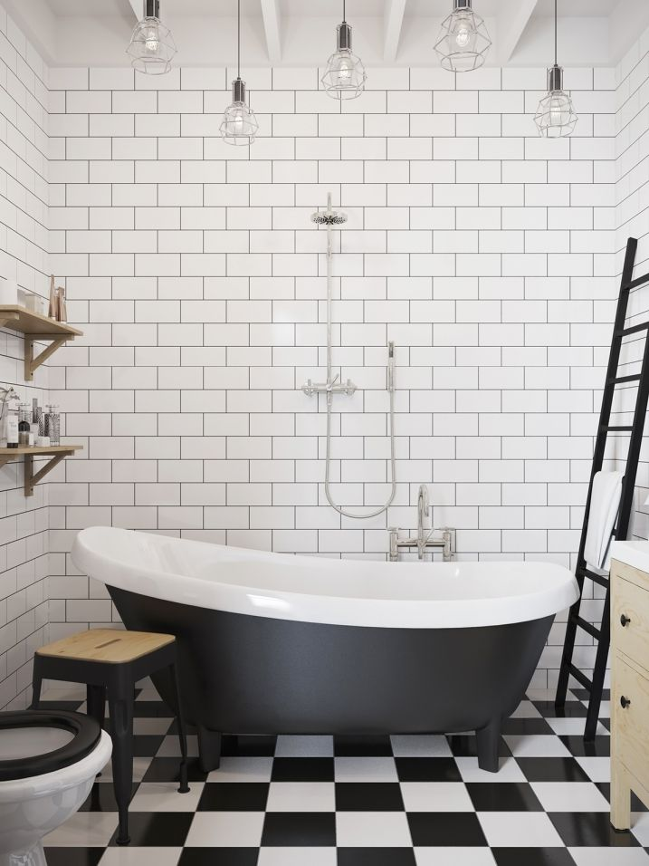 Salle de bain avec carrelage métro noir et blanc