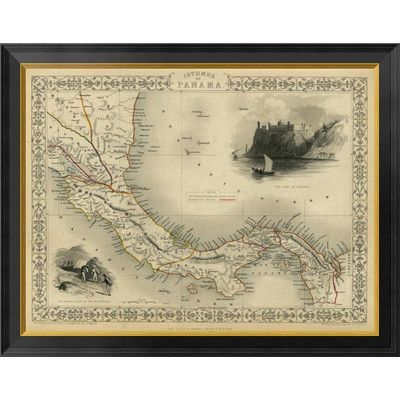 "Global Gallery Isthmus of Panama, 1851 by R.M. Martin Framed Graphic Art on Canvas Size: 27"" H x 34"" W x 1.5"" D"