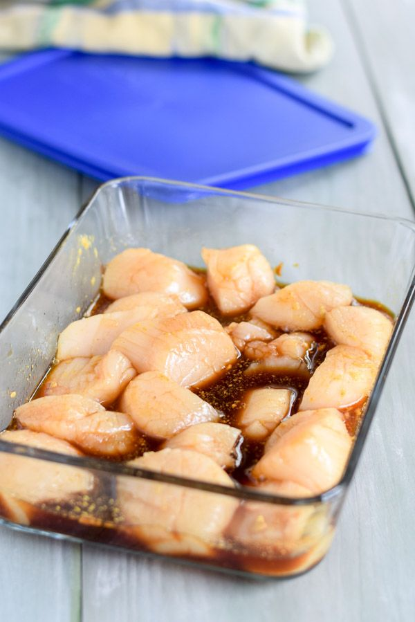 Scallops in the marinade ready to become the best marinated bacon wrapped scallops