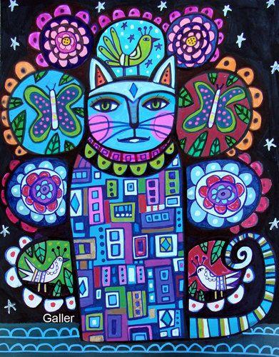 Cat Print  Cat Tree of Life Poster Folk Art of by HeatherGallerArt, $24.00