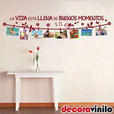 VINILO DECORATIVO PARED - BUENOS MOMENTOS - PASILLO - MURAL FOTOS - FRASE 141x22