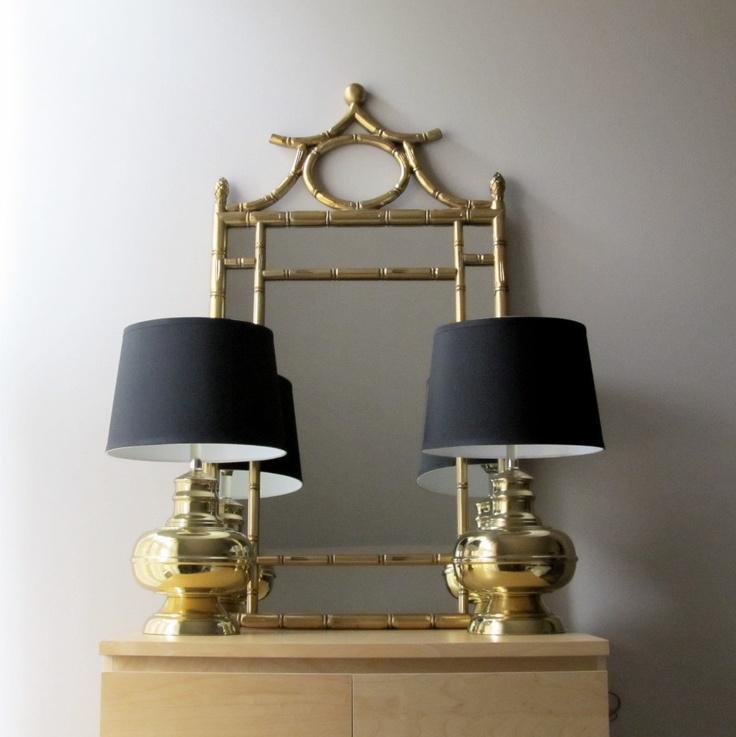 Pair brass lamps ginger jar lamps hollywood regency asian
