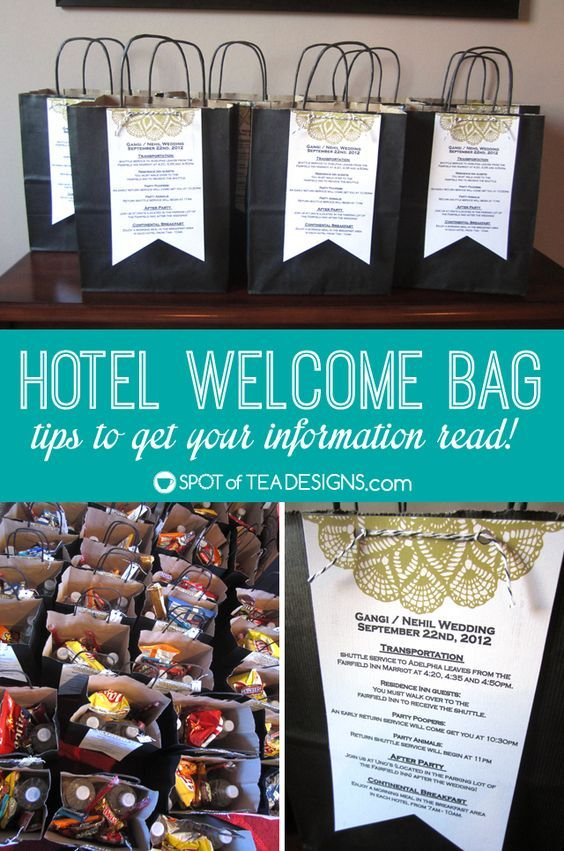 Hotel Welcome Bag for #Weddings. What to put inside and how to get your information read! | spotofteadesigns.com