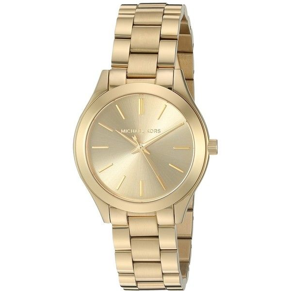 Michael Kors MK3512 - Mini Slim Runway (Gold) Watches ($195) ❤ liked on Polyvore featuring jewelry, watches, yellow gold watches, quartz movement watches, michael kors watches, yellow gold jewelry and dial watches