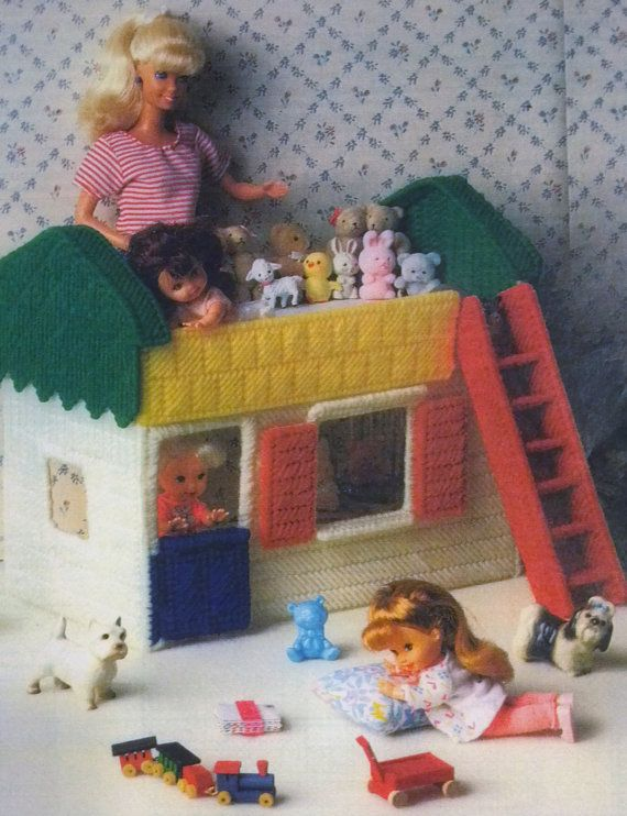 Rare Fashion Barbie Kelly Doll Tikes Nursery Playhouse BUNK BED handmade pretend play plastic canvas girl PATTERN Birthday Christmas gift