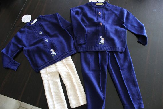 Vintage - coppia completi maglia + pantalone per bambini  anni 60 originale
