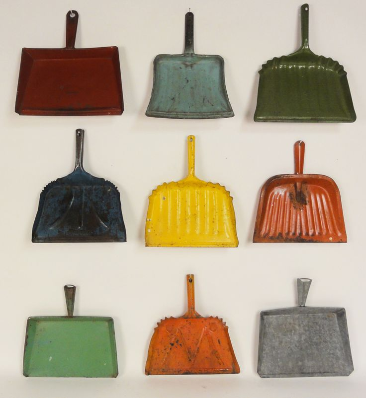 Lost Found Art - Antique Painted Metal Dust Pans