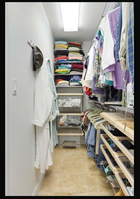 Narrow walk in closet idea
