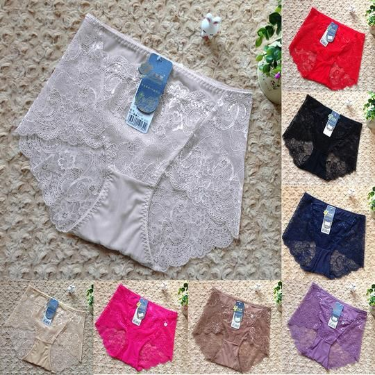 Fashion Sexy Women Briefs Panties Underwear Lace High Waist Underpants Transparent Lingerie 8 Colors
