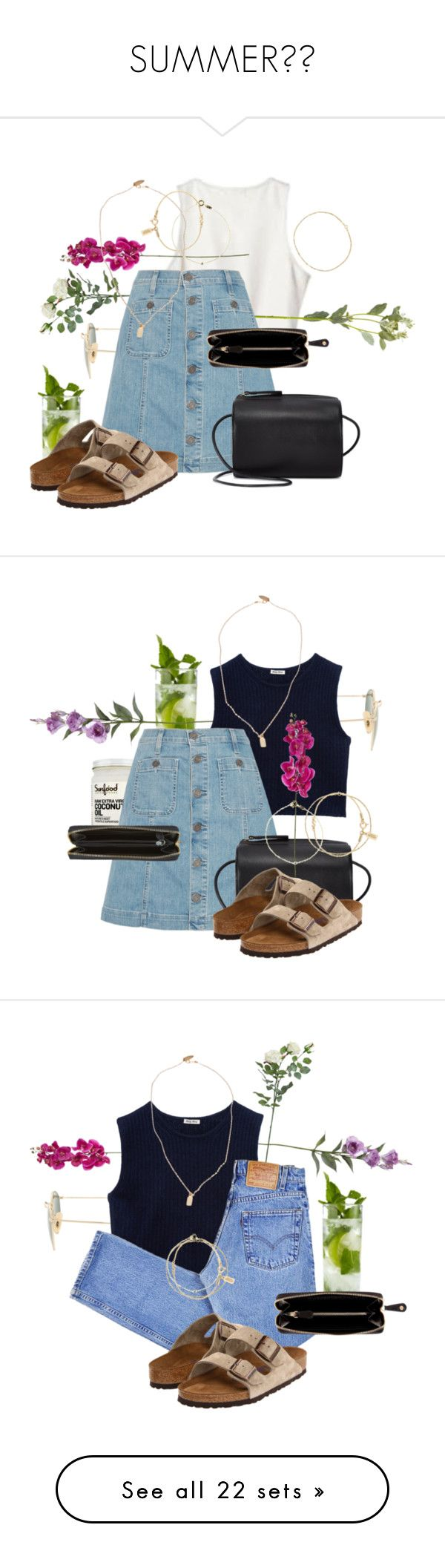 """""""SUMMER☀️"""" by shanika-w ❤ liked on Polyvore featuring Ray-Ban, OKA, Joie, Nomadic, Devon Pavlovits, Kate Spade Saturday, Wouters & Hendrix Gold, Birkenstock, Pori and Building Block"""