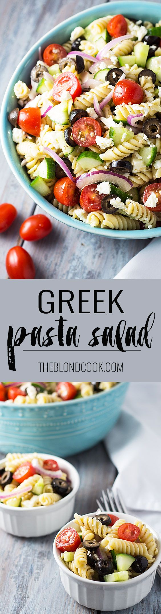Greek Pasta Salad full of fresh veggies and pasta with an easy homemade vinaigrette | theblondcook.com