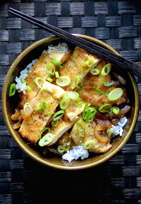 OUR OMG CHICKEN KATSUDON. We've used free range chicken breast to recreate this popular Japanese dish. Panko crumbed and served with rice onion gravy and egg to finish. Super fun to cook.  30 Minutes. Delish! A Japanese classic for the whole family.