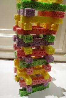 Sponge Tower Building- Quiet building activity with just cut up sponges, or if you have creative children like mine, you request different shapes and you make sandwiches and pizzas