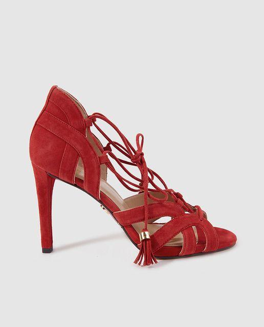 Sandalias de tacón de mujer Michael Kors de ante rojos. Modelo  MIRABEL SANDAL.