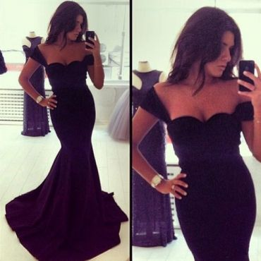 USD10.99Cheap Sexy V Neck Spaghetti Strap Sleeveless Black Cotton Blend Mermaid Ankle Length Dress