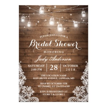Mason Jars Lights Rustic Wood Lace Bridal Shower Card - tap, personalize, buy right now!