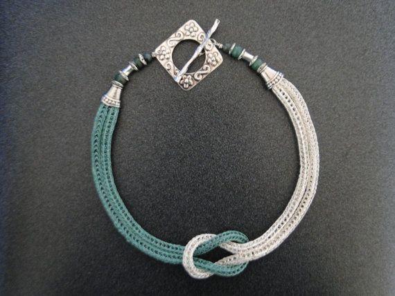Love Knot, Viking Knit Weave Seafoam Silver  Wire Necklace