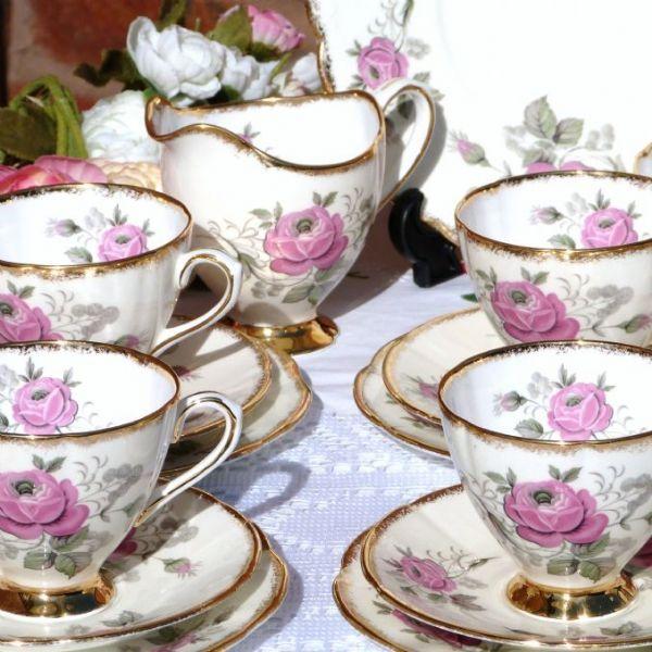 Tea Set VINTAGE CLARE CHINA English Rose Tea Set For 6