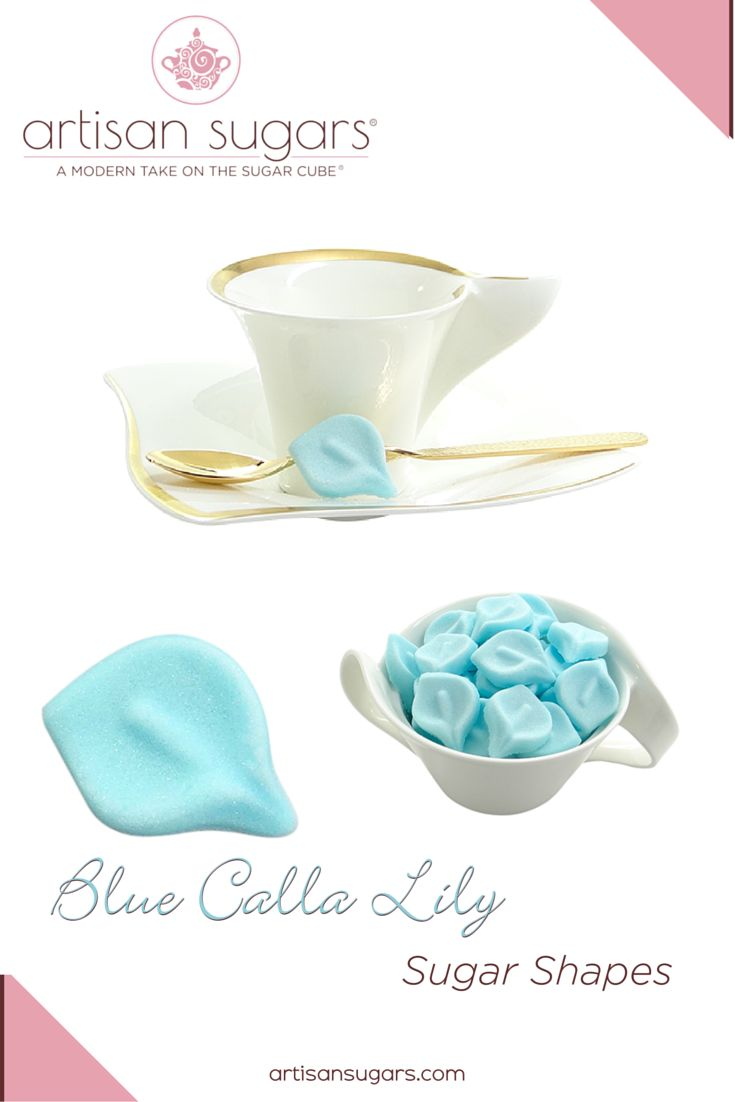 """Symbolizing """"magnificent beauty,"""" the calla lily is an elegant wedding flower. Carry your pastel blue color palette through your reception table setting with gorgeous calla lily coffee and tea sugars. Find out more at www.artisansugars.com"""