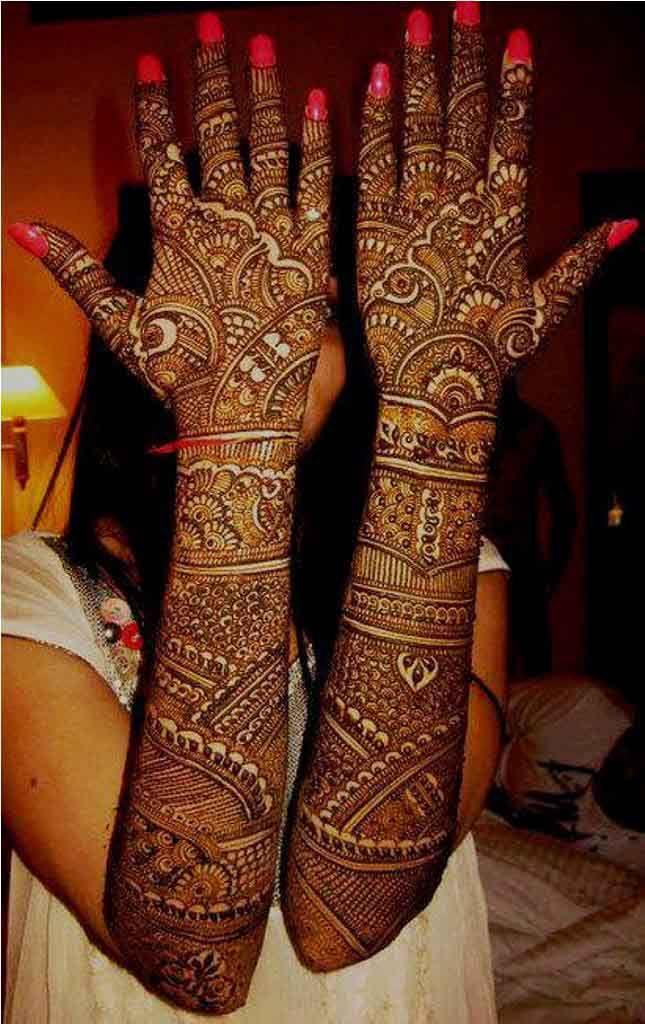 Arabic Full Hand Bridal Henna Designs